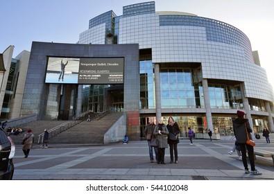 PARIS, FRANCE -26 DEC 2016- Designed by Carlos Ott, the modern Bastille Opera House on Place de la Bastille in Paris was inaugurated in 1989.