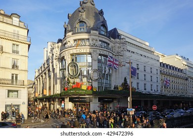 PARIS, FRANCE -26 DECEMBER 2015- The landmark Bazar de l Hotel de Ville (BHV) department store on Rue de Rivoli is decked with Christmas Holiday decorations.
