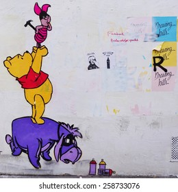 PARIS, FRANCE -26 FEBRUARY 2015- Editorial: Colorful graffiti art line the street walls and back alleys of the Butte-aux-Cailles neighborhood in the 13th arrondissement of the French capital.