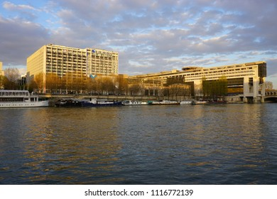 PARIS, FRANCE -27 MAR 2017- The headquarters of the French Ministry of Finance and Economy is located in the Bercy neighborhood in the 12th arrondissement of Paris, extending over the Seine river.