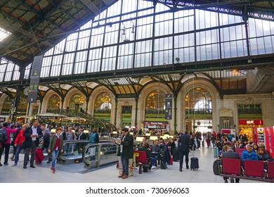 PARIS, FRANCE -27 MAR 2017- View of the historic Gare de Lyon train station, built for the 1900 Paris World Exposition.