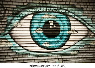 Paris - France 27 May 2013 - urban art - eye  closeup