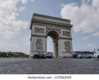 Paris, France, 27th August 2018, Arc de Triomphe de l'Étoile (Triumphal Arch of the Star) is a famous landmark in Paris.