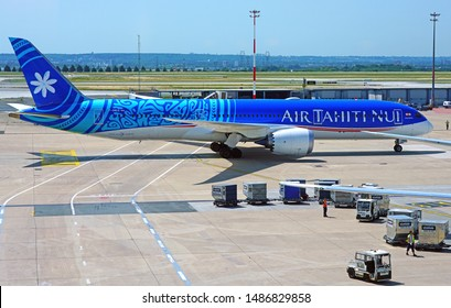 PARIS, FRANCE -28 JUNE 2019- View of a Boeing 787 Dreamliner from Polynesian airline Air Tahiti Nui (TN) at the Roissy Charles de Gaulle International Airport (CDG) near Paris, France.