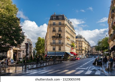 PARIS, FRANCE - 28 SEPTEMBER 2019: Streets and architecture of the Paris. A lot of people visit and enjoy Paris each year.