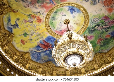 Paris, France - 28.10.2015: Palais Garnier. Marc Chagall's Ceiling for the Paris Opera. Artist Marc Chagall.