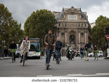 Paris, France- 2nd October, 2019: Busy mix of roadway traffic around place Saint Michel in Central Paris,
