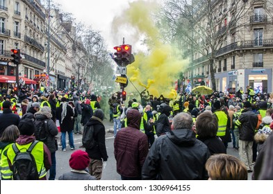 Paris, France - 2th February 2019: demonstration of yellow vests in the street