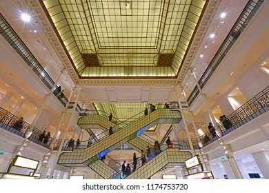 PARIS, FRANCE -3 JAN 2018- View of the Bon Marche department store, a fashionable clothing and grocery store on the Rive Gauche left bank in Sevres Babylone, Paris, France.