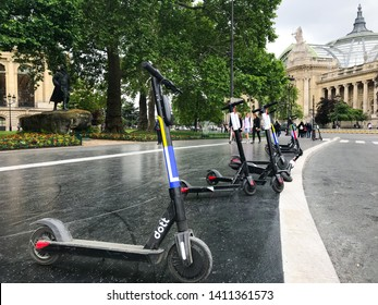 Paris France, 30 May 2019: Dott electric scooter of the startup company Dott in the street Champs Elysees in Paris centre France