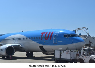 Paris, France, 3-09-2019.  TUI airplane ready for next journey, largest european tour operator after the british Thomas Cook.