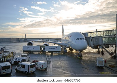 PARIS, FRANCE - 3rd of APRIL, 2016: Air France Airbus A380 preparing for take-off at Charles de Gaulle International airport. April 3rd, 2016. Paris, France.