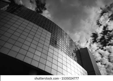Paris, France - 3rd October, 2019:  Looking up at the modernist architecture of Bastille Opera House Designed by Uruguayan architect Carlos Ott, located on Place de la Bastille in Central Paris