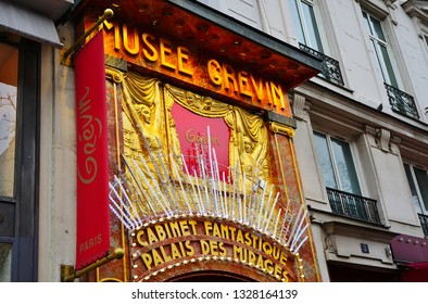 PARIS, FRANCE -4 JAN 2019- View of the Musée Grevin, a historic wax figures museum located on Boulevard Montmartre in the French capital.