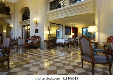 PARIS, FRANCE -5 NOV 2016- The Hotel Regina is a luxury historic hotel located in the First Arrondissement of Paris on the Right Bank next to the Tuileries Garden and the Louvre Museum.