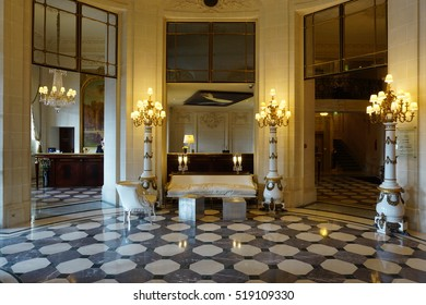 PARIS, FRANCE -5 NOV 2016- The Hotel Meurice is a luxury historic hotel located in the First Arrondissement of Paris on the Right Bank next to the Tuileries Garden and the Louvre Museum.