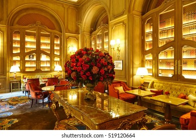 PARIS, FRANCE -5 NOV 2016- Located on Place Vendome in Paris, the luxury Hotel Ritz Paris reopened in 2016 after a four year renovation. The hotel is owned by Mohamed Al-Fayed.