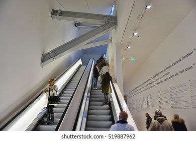 PARIS, FRANCE -5 NOV 2016- Visitors at the Fondation Louis Vuitton museum which holds the spectacular exhibit Icons of Modern Art The Shchukin Collection until February 2017.