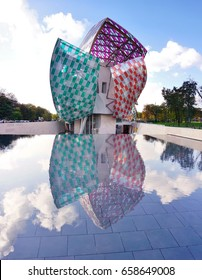 PARIS, FRANCE -5 NOV 2016- View of the Fondation Louis Vuitton museum, designed by Frank Gehry, with colorful glass nales designed by Daniel Buren.