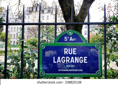 PARIS, FRANCE --6 DECEMBER 2014-- The Lagrange street in the 5th arrondissement of Paris, on the left bank (close to Notre Dame), is named after the 18th century French mathematician Lagrange.