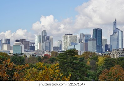PARIS, FRANCE -6 NOV 2016- Panoramic view of the la Defense business district skyline outside of Paris seen from the Louis Vuitton Foundation building.