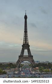 PARIS, FRANCE -6 OCT 2018- Built for the 1889 World Fair, the iron Tour Eiffel tower is the most famous landmark in Paris.