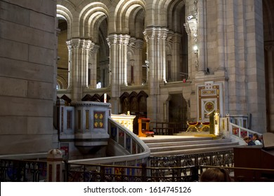Paris, France - 6th June, 2019: Romano-Byzantine style architecture inside of Sacre Coeur Basilica.