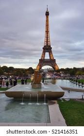 PARIS, FRANCE -7 NOV 2016- Built for the 1889 World Fair, the iron Tour Eiffel tower is the most famous landmark in Paris.