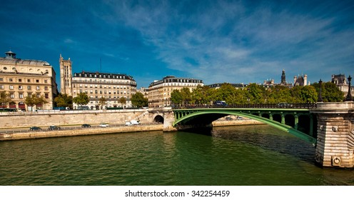 PARIS, FRANCE - 7 SEPTEMBER, 2014: Nice view on the old town of Paris with river Seine, France on 7 September 2014. Paris is one of the most populated metropolitan areas in Europe.