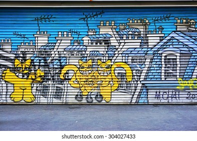 PARIS, FRANCE -8 JULY 2015- Graffiti street art in the 4th arrondissement of the French capital near the BHV department store.