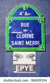 PARIS, FRANCE -8 JULY 2015- Street sign for the rue du Cloitre Saint Merri street in the 4th arrondissement of Paris.