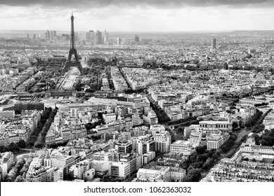 Paris, France - aerial city view Eiffel Tower. Black and white retro style.