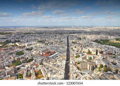 Paris, France - aerial city view with Rue de Rennes street