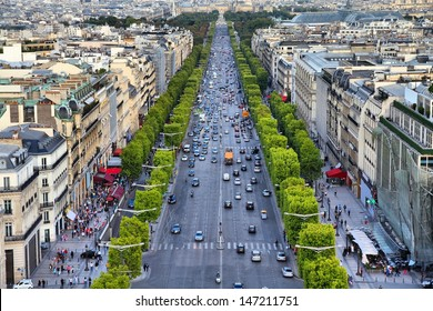 Paris, France - aerial city view with Champs Elysees street.