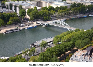 Paris, France - aerial city view with Seine River and Debilly footbridge. UNESCO World Heritage Site.