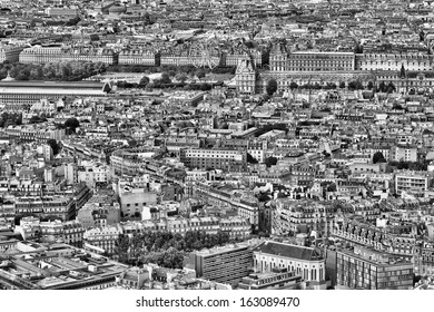 Paris, France - aerial city view with old architecture. UNESCO World Heritage Site.