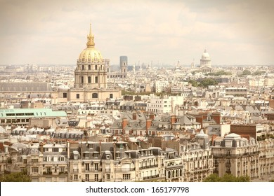 Paris, France - aerial city view with Invalides Palace and Pantheon. UNESCO World Heritage Site. Vintage photo color style.