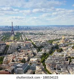 Paris, France - aerial city view Eiffel Tower. UNESCO World Heritage Site. Square composition.
