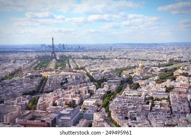 Paris, France - aerial city view Eiffel Tower. Filtered style colors.
