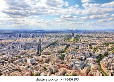 Paris, France - aerial city view Eiffel Tower. UNESCO World Heritage Site.