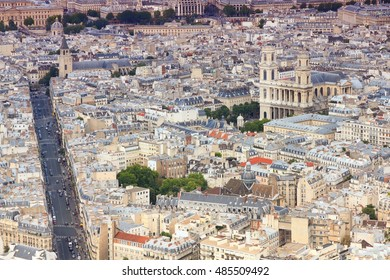 Paris, France - aerial city view with Saint Sulpice church. Filtered style colors.