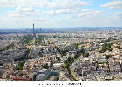 Paris, France - aerial city view Eiffel Tower. UNESCO World Heritage Site.