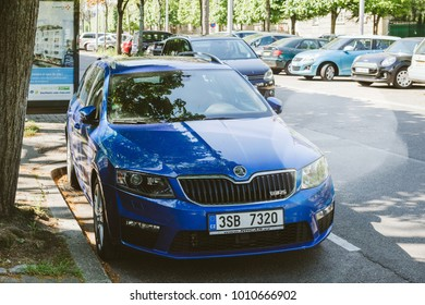 PARIS, FRANCE - APR 21, 2017: New blue metallic sport Skoda Octavia Wagon VRS car parked on the street of Paris on a sunny day