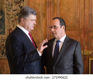PARIS, FRANCE - Apr 22, 2015: President of Ukraine Petro Poroshenko and French President Francois Hollande during an official meeting in Paris
