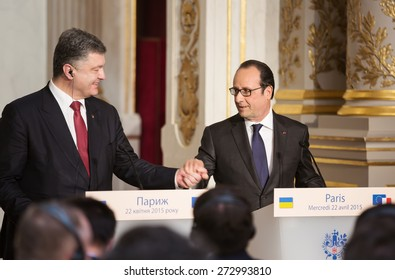 PARIS, FRANCE - Apr 22, 2015: President of Ukraine Petro Poroshenko and French President Francois Hollande during a press conference in Paris