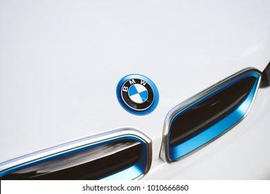 PARIS, FRANCE - APR 7, 2017: BMW logotype on the white limousine hybrid car