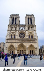 PARIS, FRANCE - APRIL 02, 2019; The Cathedral of Notre Dame is one of the most visited monuments in Paris, France, on April 02, 2019