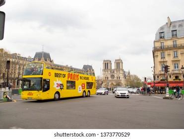 PARIS, FRANCE - APRIL 02, 2019;Thousands of tourists visiting the city of light in Paris, France, on April 02, 2019