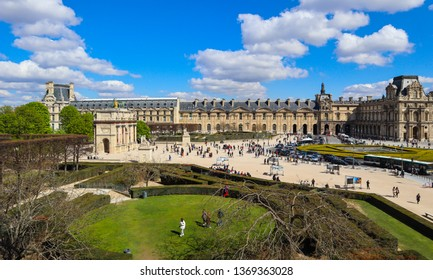 Paris / France - April 03 2019. Square in front of Louvre museum in Paris