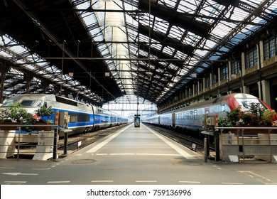 PARIS, FRANCE - APRIL 06, 2017: TGV high speed french train in Gare de Lyon station.